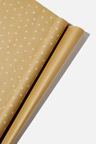 Roll Wrapping Paper, KRAFT WHITE SPOT