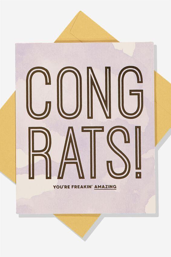 Congratulations Card, CONGRATS WATERCOLOUR BLUE