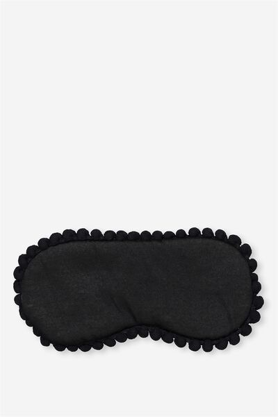 Easy On The Eye Sleep Mask, BLACK POM POMS