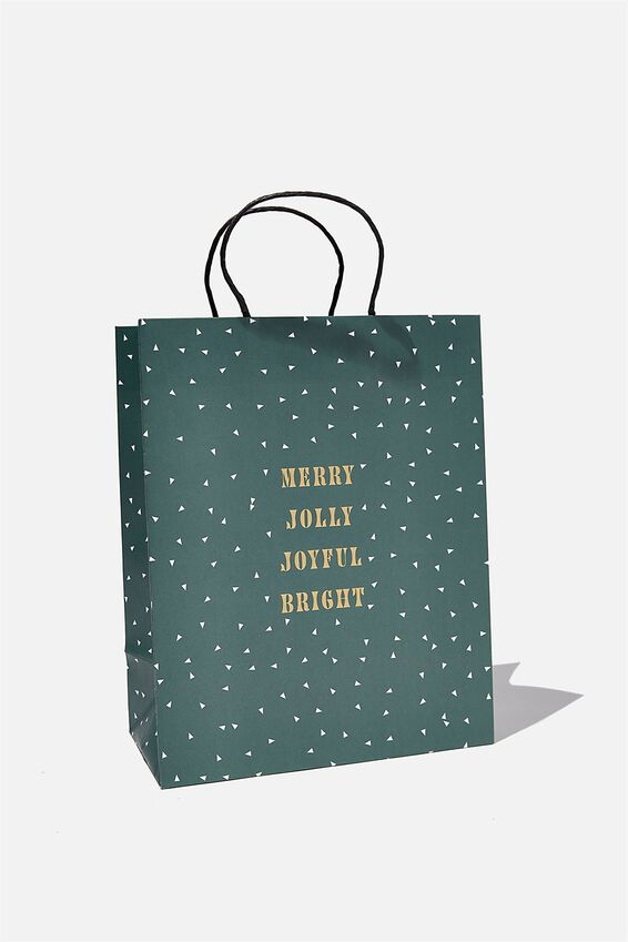 Get Stuffed Gift Bag - Medium, MERRY JOLLY JOYFUL GREEN