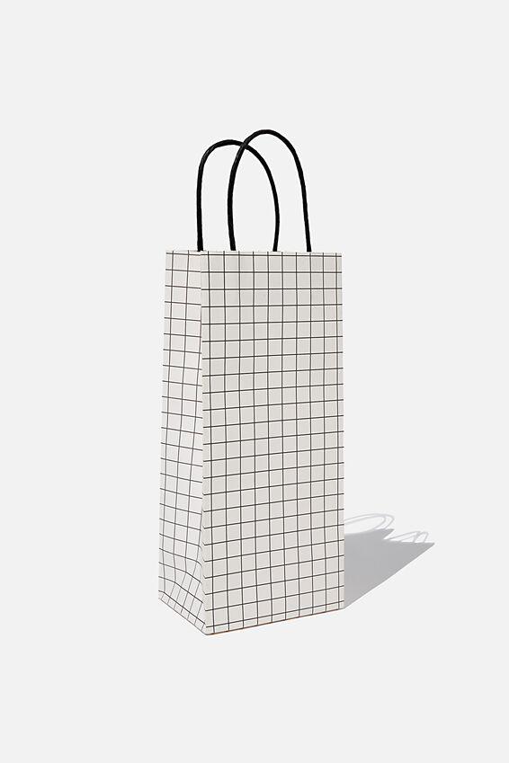 Bottle Gift Bag, WHITE BLACK GRID