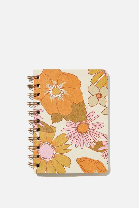 A6 Dot Daily Scribe Notebook, PINK ORANGE STEVIE FLORAL