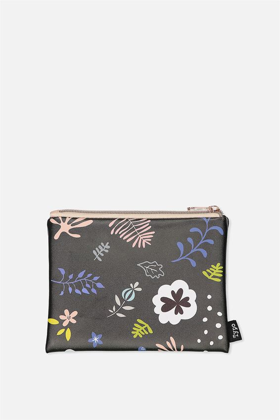 Pu Campus Pencil Case, PASTEL SKETCH FLOWER