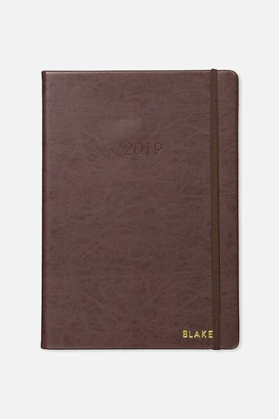 Personalised 2019 A4 Daily Buffalo Diary, VINTAGE TAN