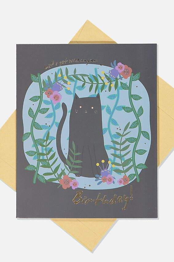 Funny Birthday Card, FLORAL BACK CAT