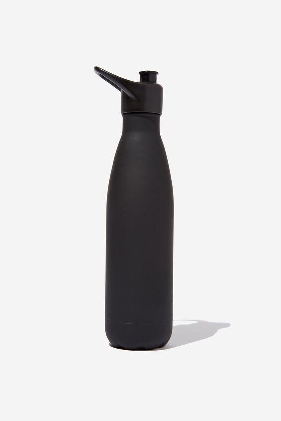 Sip Top Metal Drink Bottle, BLACK RUBBER