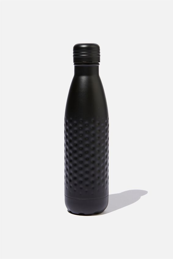 Premium Metal Drink Bottle, MATTE BLACK HAMMERED