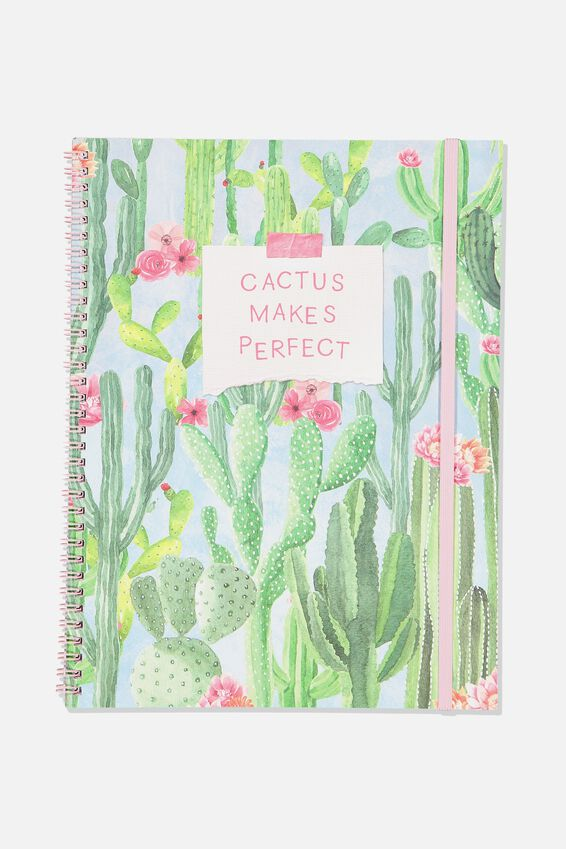 A4 Spinout Notebook Grid Page, CACTUS MAKES PERFECT