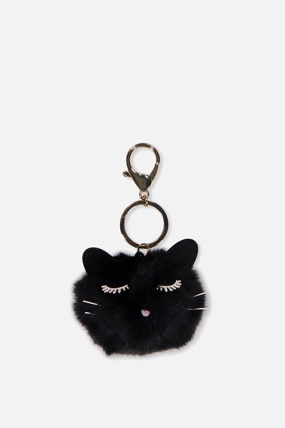 Bag Charm, BLACK POM POM CAT