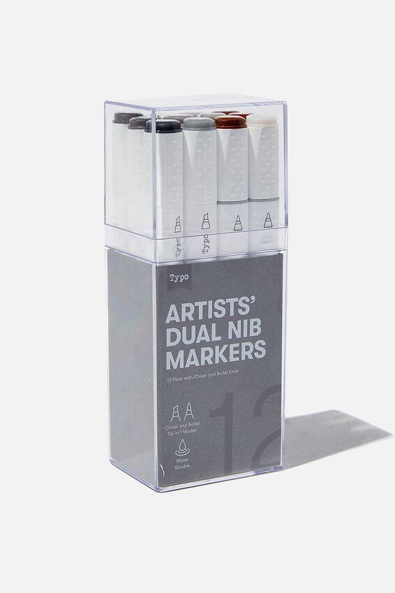 Artists Dual Nib Marker 12Pk, NEUTRAL