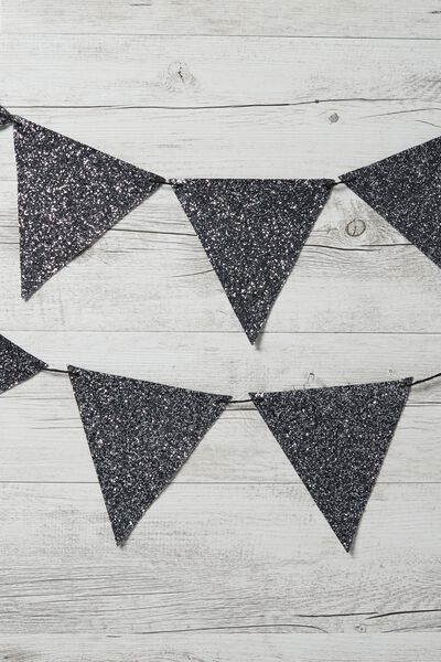 Diy Fabric Bunting, GREY GLITTER