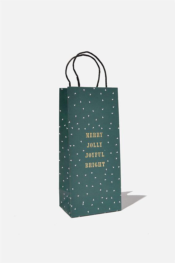 Bottle Gift Bag, MERRY JOLLY JOYFUL GREEN