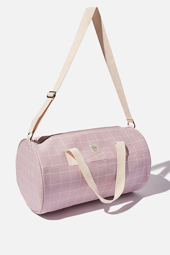 Canvas Barrel Bag, HEATHER GRID