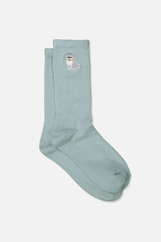 Womens Novelty Socks, EMBROIDERED CAT