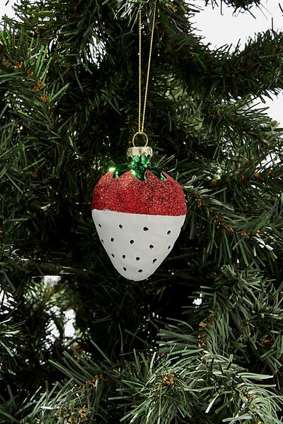 Small Glass Christmas Ornament, SPRINKLE STRAWBERRY