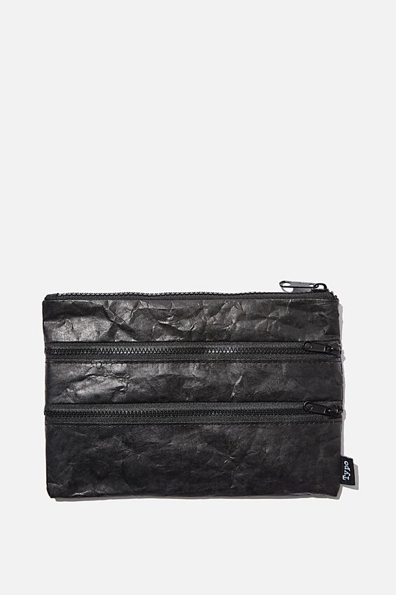 Double Archer Pencil Case, BLACK CRINKLED