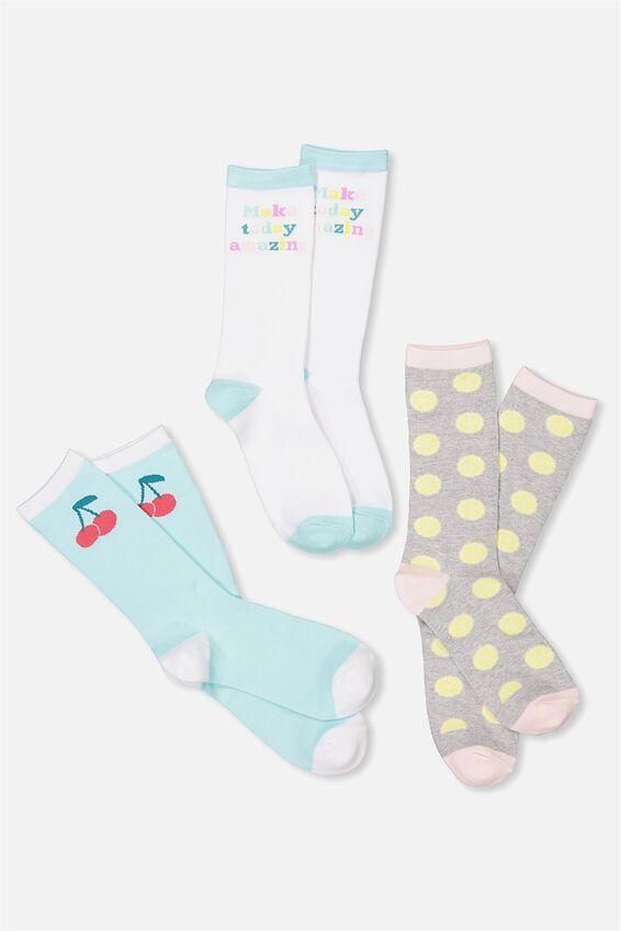 Womens Novelty Sock Set, CHERRY