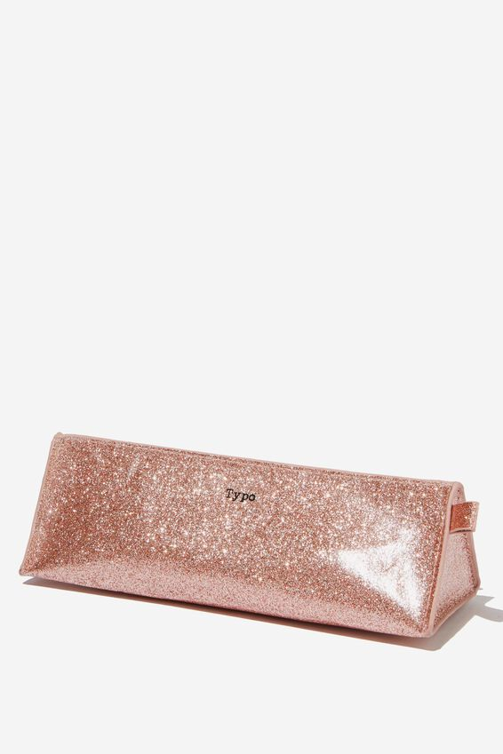 Tri Side Pencil Case, ROSE GOLD GLITTER