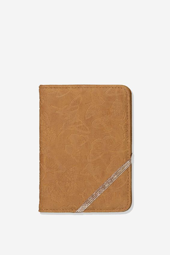 Passport Holder, BUTTERFLY TOOLED MID TAN