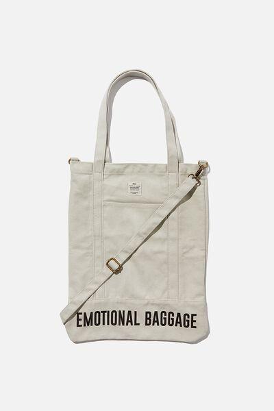 Book Tote Bag, LIGHT GREY EMOTIONAL BAGGAGE