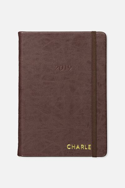 Personalised 2019 A5 Daily Buffalo Diary, VINTAGE TAN
