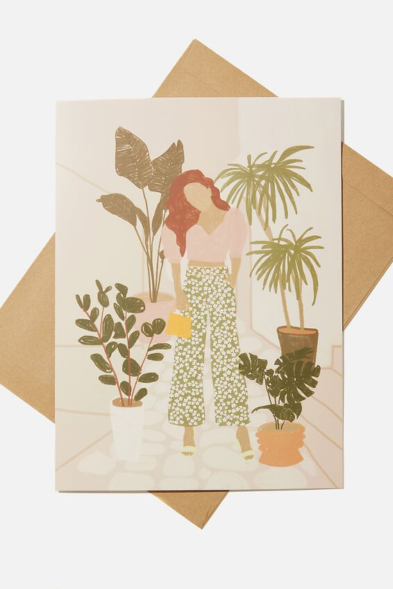 Large Fashion Card, PLANTS GIRL ILLUSTRATION