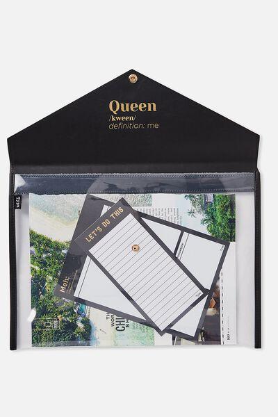 Envelope Document Wallet, BLACK QUEEN