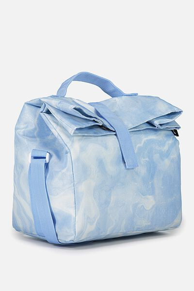 Rolled Lunch Bag, BLUE MARBLE