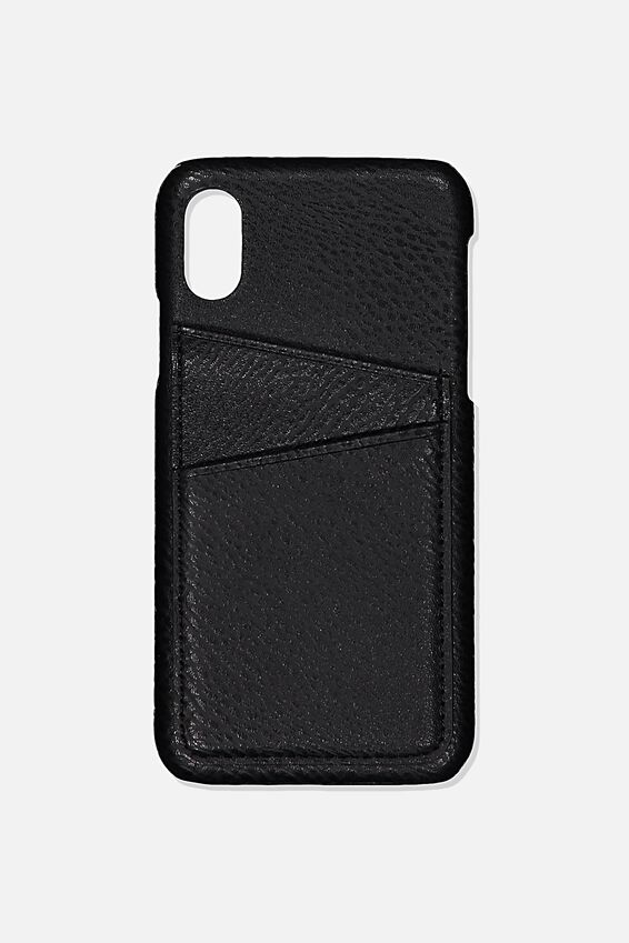 Cardholder Phone Case iPhone X, Xs, BLACK PEBLLE