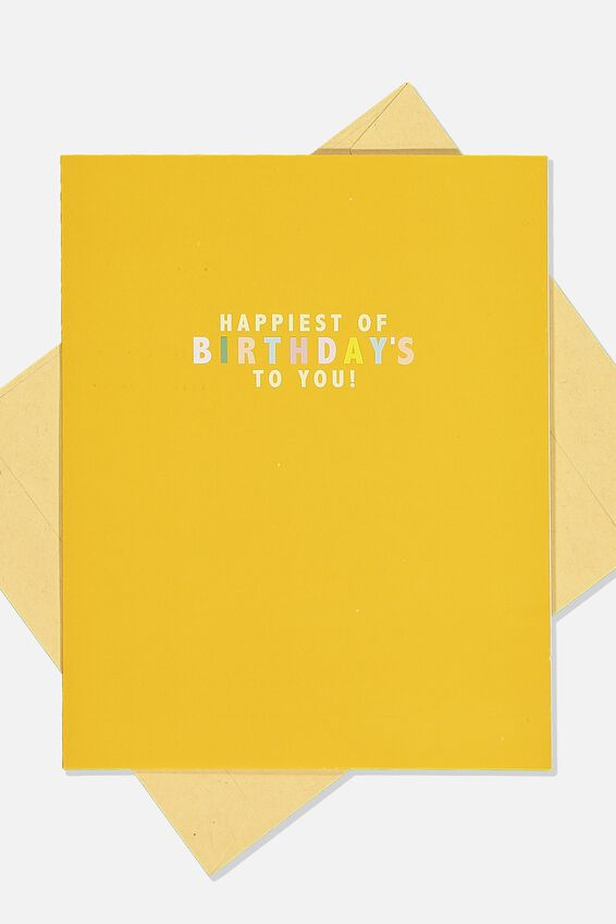 Nice Birthday Card, MUSTARD HAPPIEST OF BIRTHDAYS