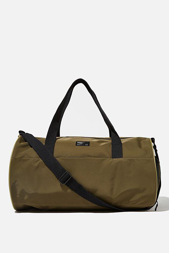 Premium Barrel Bag, KHAKI AND PAPAYA