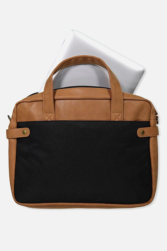 Varsity Laptop Bag, BLACK & TAN