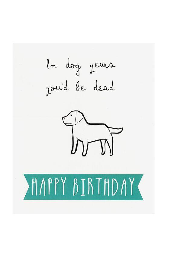 Funny Birthday Card DOG YEARS