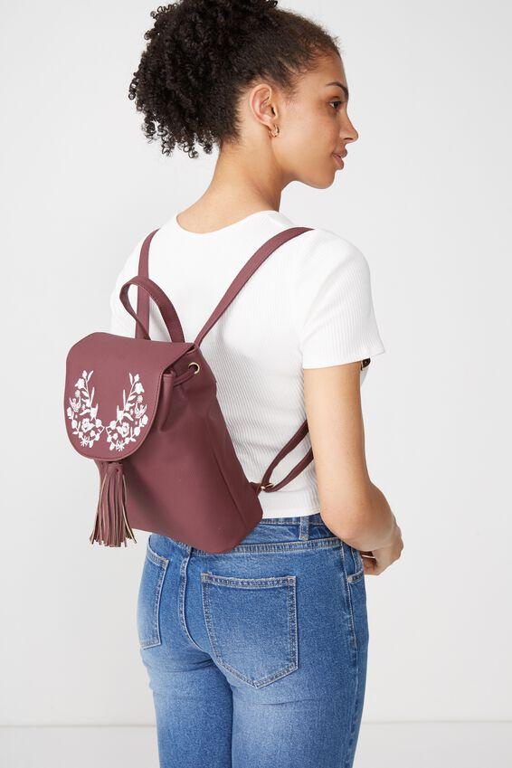 Drawstring Backpack, BURGUNDY