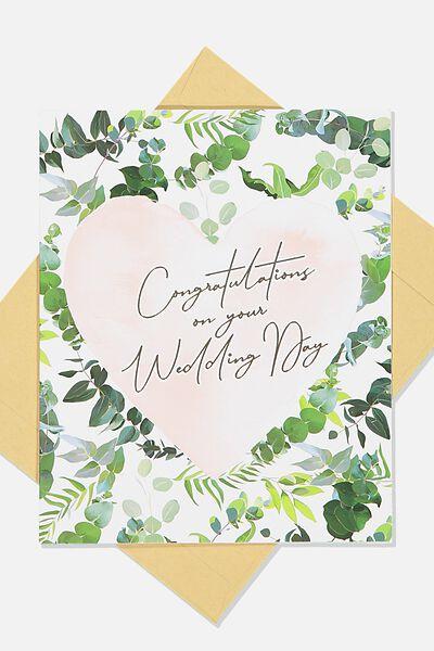 Wedding Card, LEAF PINK HEART