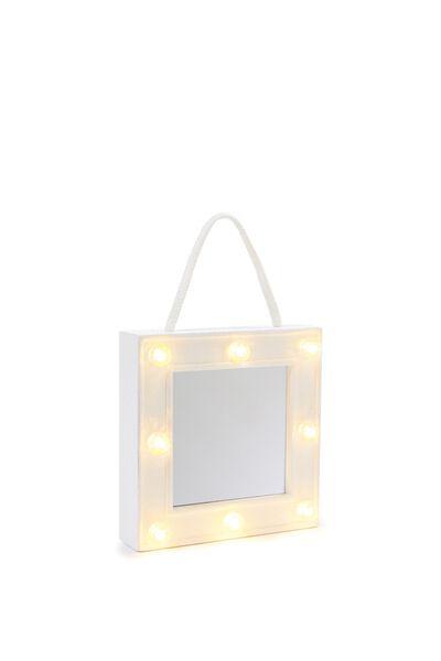 Mini Marquee Mirror Light, WHITE IRIDESCENT GLITTER