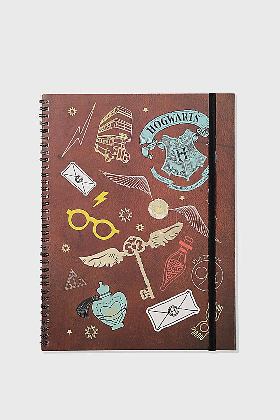 A4 Harry Potter Spinout Notebook Recycled, LCN WB HPO PATCHES