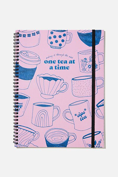 A4 Spinout Notebook Recycled, RG UK PINKTEA