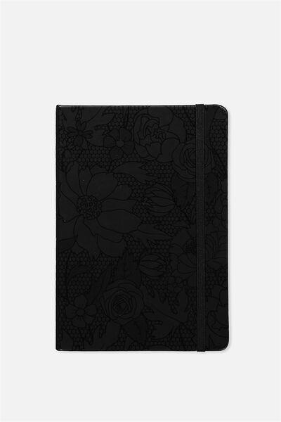 A5 Buffalo Journal, BLACK FLORAL EMBOSS