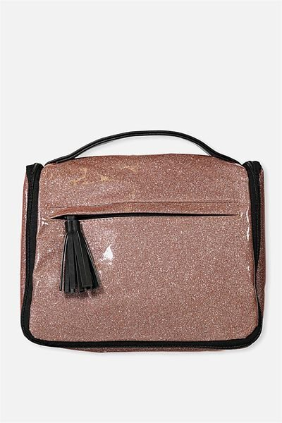 Hanging Toiletry Bag, ROSE GOLD GLITTER