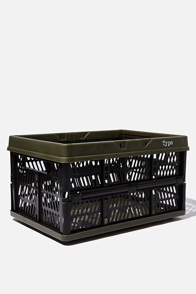 Large Foldable Storage Crate, OILSKIN & BLACK TWO TONE