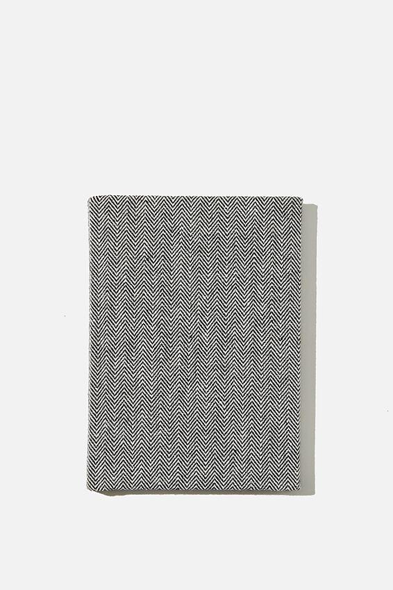 A6 Oxford Notebook, BLACK HERRINGBONE