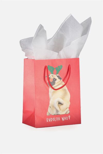 Small Gift Bag with Tissue Paper, CHRISTMAS PUG