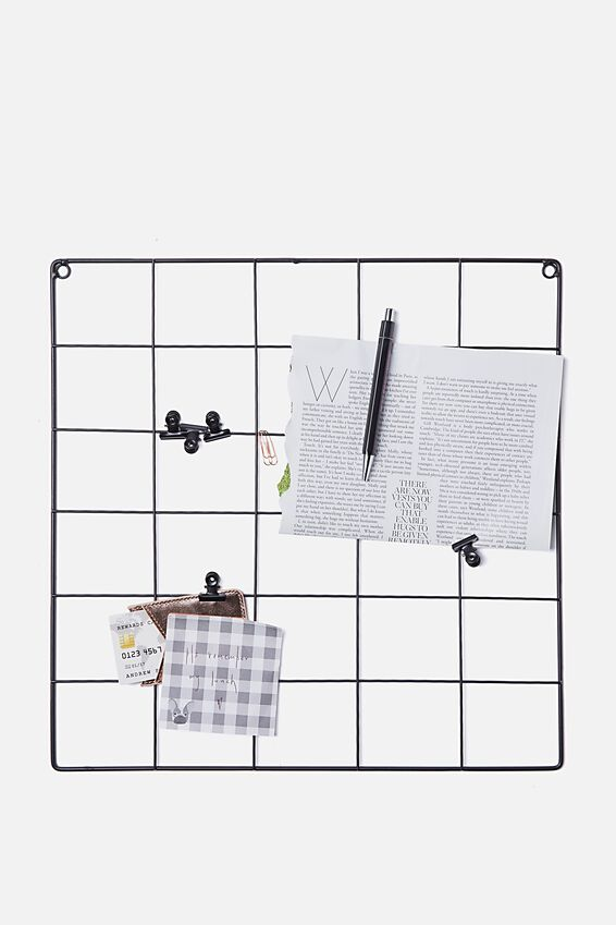 Wire Clip Noticeboard, BLACK & SILVER
