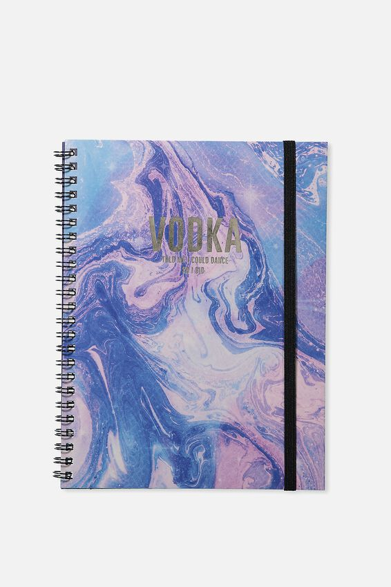 A5 Spinout Notebook - 120 Pages, PURPLE MARBLE VODKA