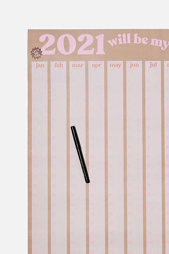 2021 A1 Year Planner Roll, PINK DRIFTWOOD