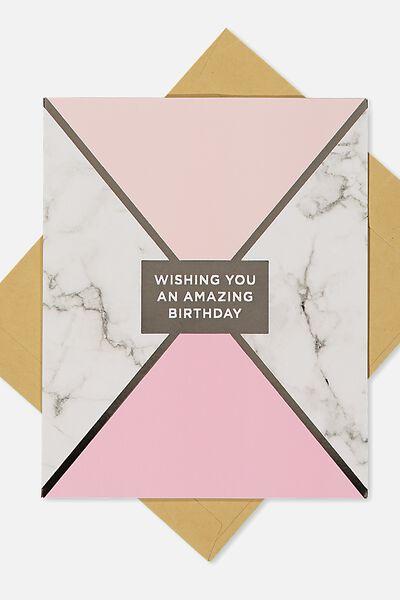 Nice Birthday Card, GEOMETRIC MARBLE GOLD