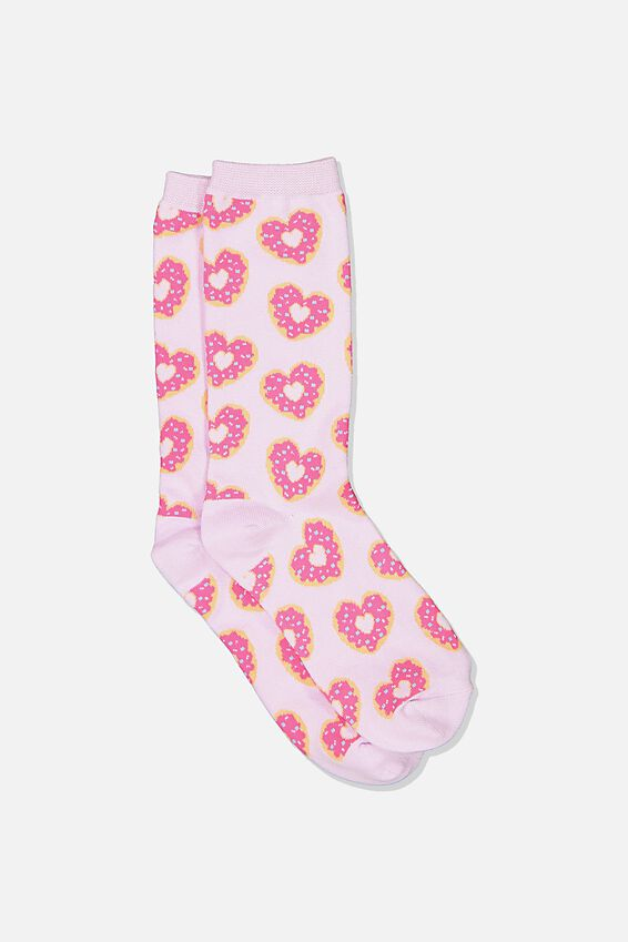 Womens Novelty Socks, HEART DONUTS PURPLE