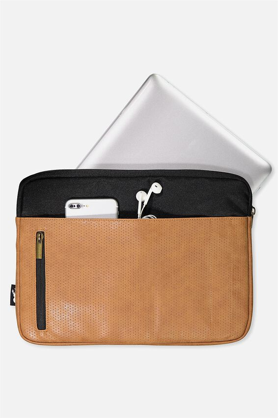 """Take Charge Laptop Cover 13"""", BLACK & MID TAN"""