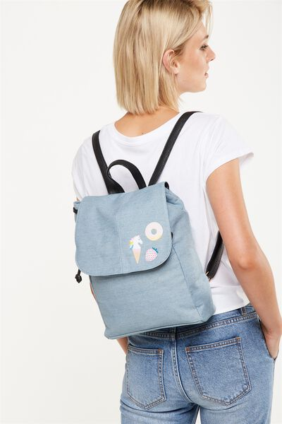 Fold Over Backpack, CHAMBRAY